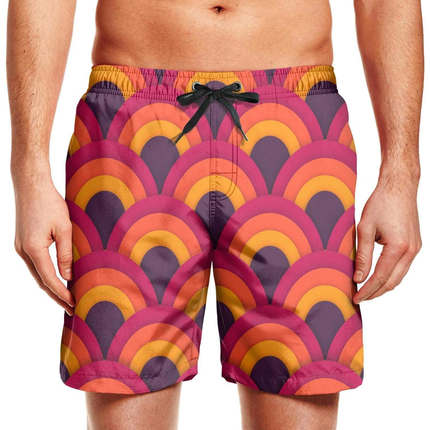 chchht Mens Beach Shorts Psychedelic Asian Seamless Stretch Board Swim Side Pockets Board Shorts