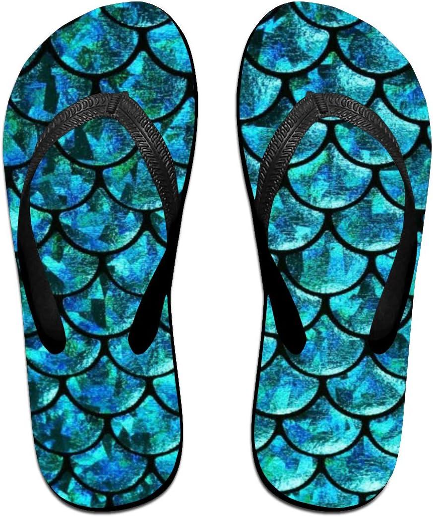 HongyeMao Turquoise Mermaid Scales Flip Flops Summer Slippers Beach Sandals