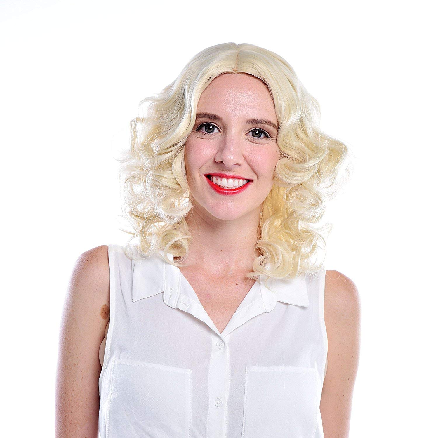 MelodySusie Short Blonde Loose Wavy Curly Wig, Middle Parting Natural Looking Synthetic Hair Wig Daily Party Cosplay Wig Marilyn Monroe Halloween Wigs ...