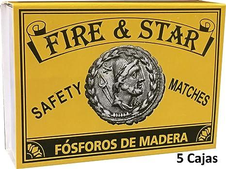 FIRE & STAR 5 Cajas de Cerillas Largas De Madera o Fósforos De Seguridad Largos para Barbacoas, Estufas, Chimeneas y Fuegos Abiertos - 5 cm (500 cerillas): Amazon.es: Deportes y aire libre