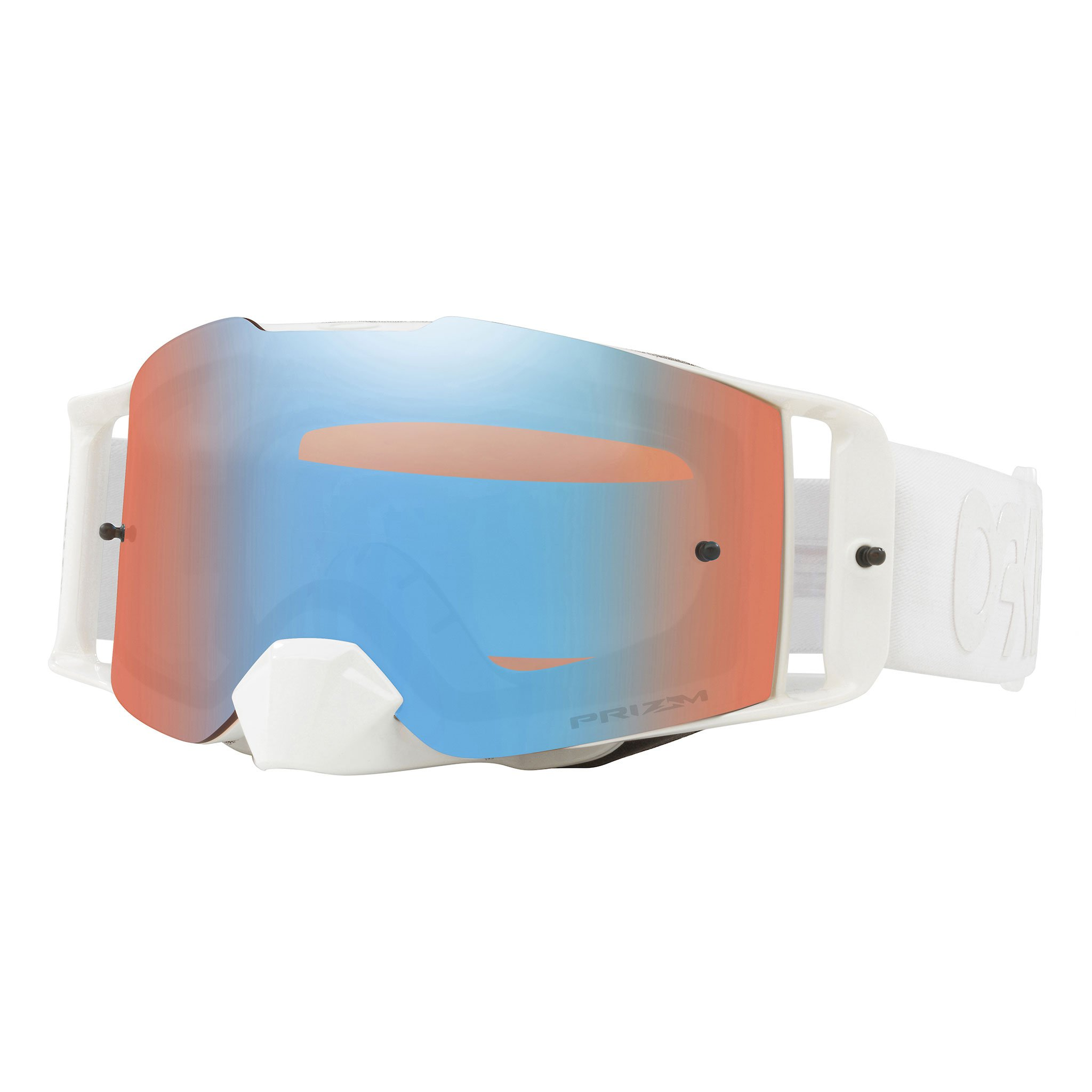 Oakley Front Line MX FP Whiteout with PrzmMXSaphr unisex-adult Goggles (White, Large), 1 Pack