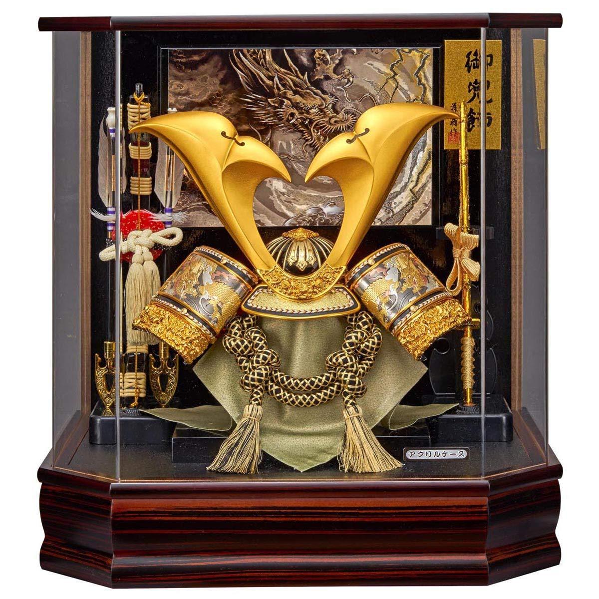 五月人形 兜ケース飾り 六角 翔寿 彫金入 兜飾り アクリルケース飾り GOFO-175-722 藤翁作 30-116 B07P711KNB