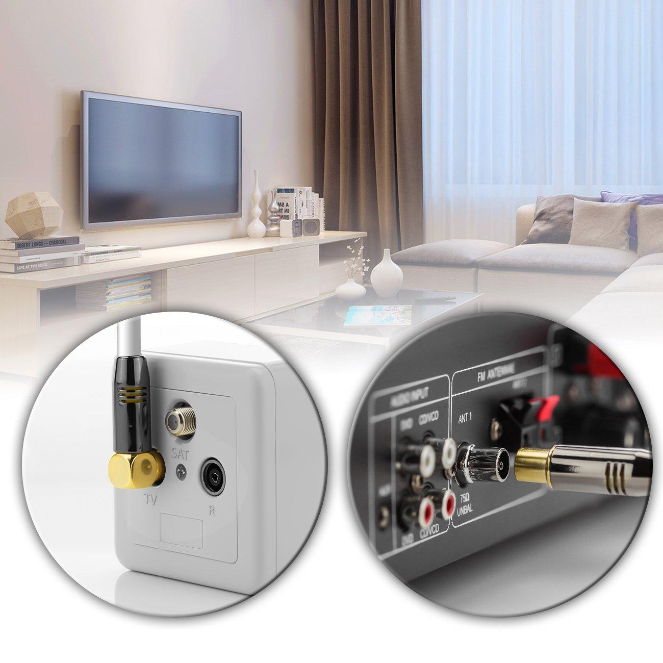4K deleyCON c/âble dantenne TV 2m c/âble coaxial Prise dantenne blanc coud/é /à 90/°//lin/éaire FullHD UltraHD HDTV connecteur m/étallique