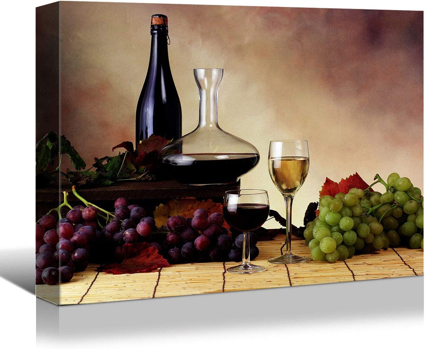 Looife Kitchen Still Life Canvas Wall Art, 18x12 Inch Vintage Wine Bottle with Grapes Picture Prints Wall Decor, Food Art Deco for Dining Room and Bar Wall Decoration