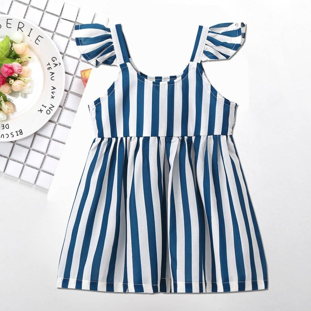 Goodtrade8/® Toddler Baby Girl Summer Off-Shoulder Princess Dress Infant Kids Ruffle Stripe Clothing