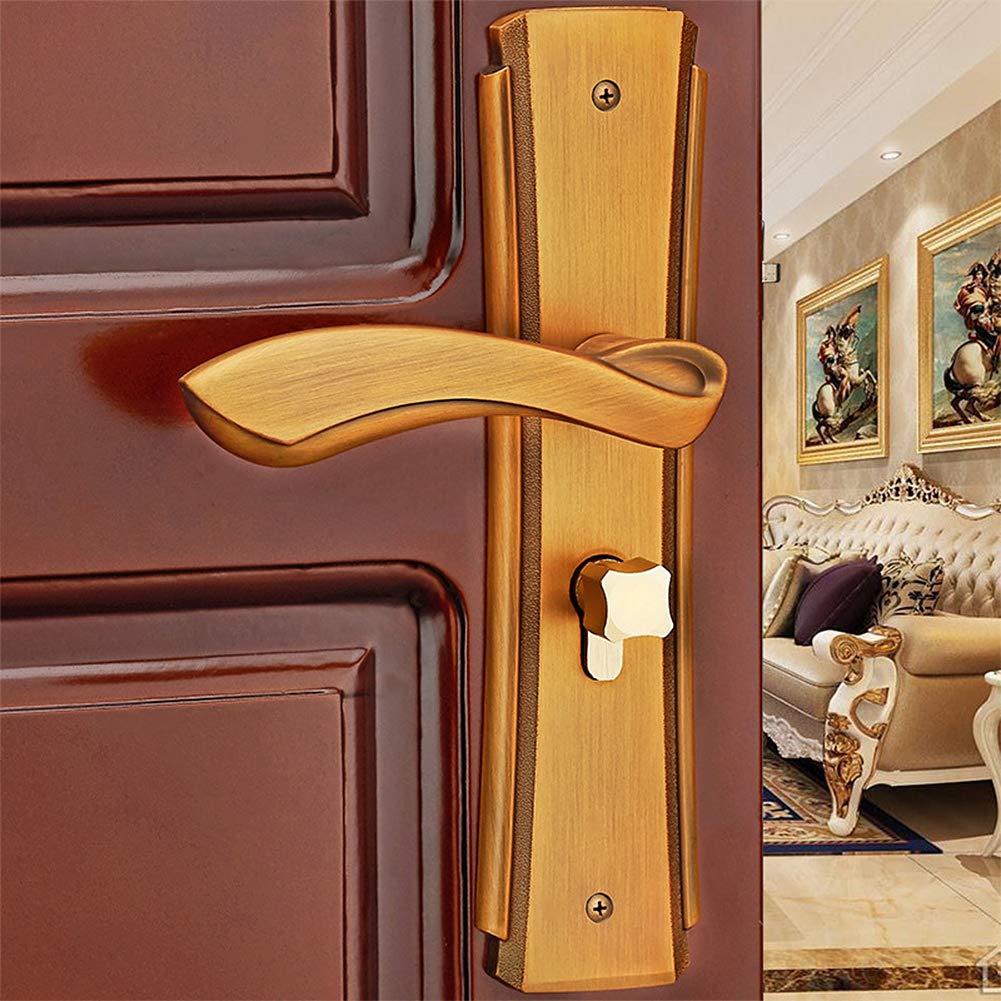 Manija de puerta de aleaci/ón de zinc Juego de palanca de puerta interior Cierre mec/ánico Cerradura de seguridad para el hogar con llaves Cerradura de puerta