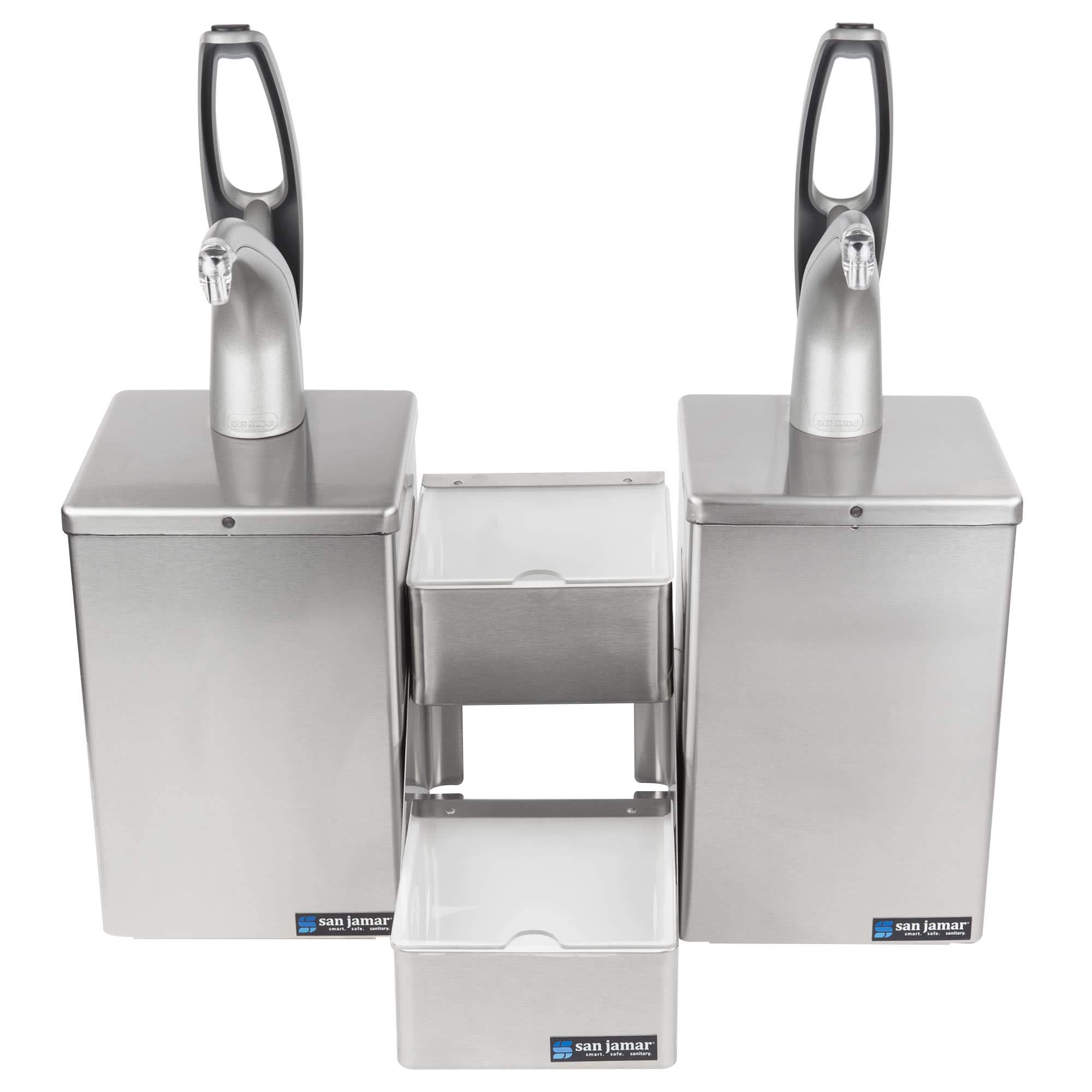TableTop King P4826 FrontLine Dual Pump Condiment System with Stepped Trays - Metal Finish by TableTop King