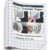 "Kassa Vinyl Transfer Tape Roll (12"" x 12 Feet) - 5 Black Vinyl Sheets Included - Clear Vinyl Transfer Paper for Cricut & Silhouette Cameo (w/Perfect Alignment Grid) - Medium Tack"
