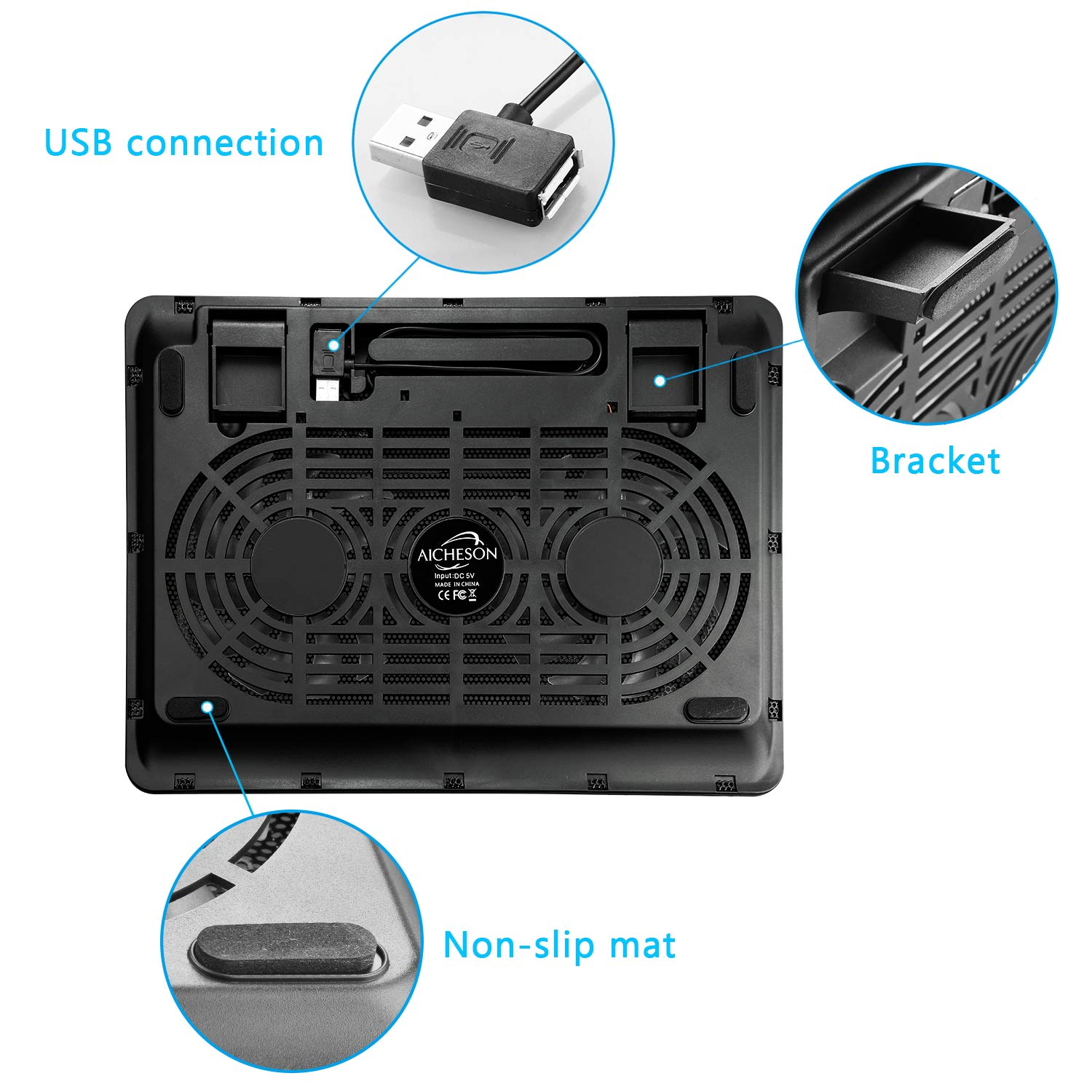 Laptop Cooler, Aicheson Ultra Slim Laptop Cooling Pad Chill Mat with 2 Heavy Duty Quiet Fans USB Powered with LED Lights