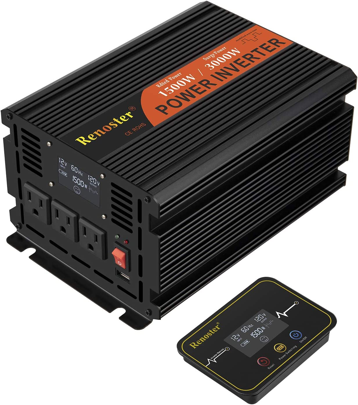 Renoster 1500W Power Inverter DC 12V to AC 120V with LCD Display Wireless Rechargeable Remote Control, Modified Sine Wave Car Power Converter with 3 AC Outlets 2.1A USB for RV Outdoor Camping