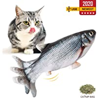 Namsan Electric Moving Fish Cat Toy - Fish Kicker Cat Catnip Toy Funny Interactive Flopping Cat Fish Toys, USB Rechargeable, Carp