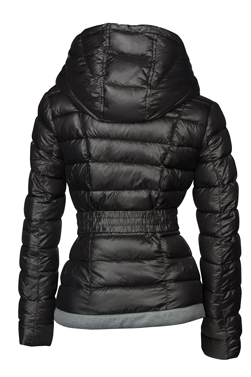 5e657596df Designer Women s Winter Short Quilted Ski Jacket with Down Look and Hood -  Black -  Amazon.co.uk  Clothing