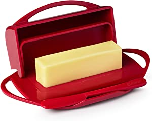 Butterie Flip-Top Butter Dish with Matching Spreader (Red)