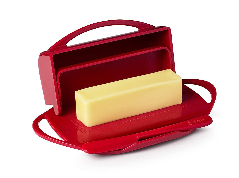 Mantequilla queso plato rojo abatible de almacenamiento con carro ...