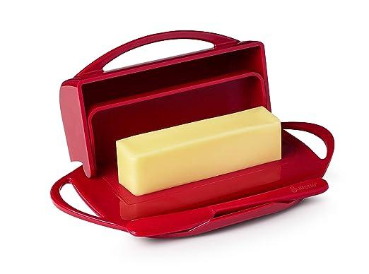 Mantequilla queso plato rojo abatible de almacenamiento con ...