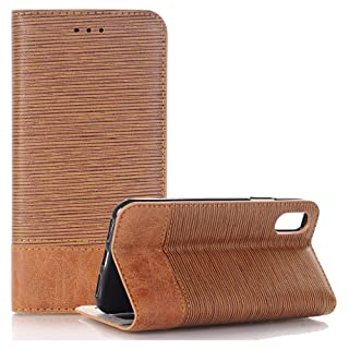 iPhone XR Case, INorton Synthetic Leather Slim-Fit Smart Stand Protective Magnetic Case with Credit Card Slots for 6.1 inch iPhone XR