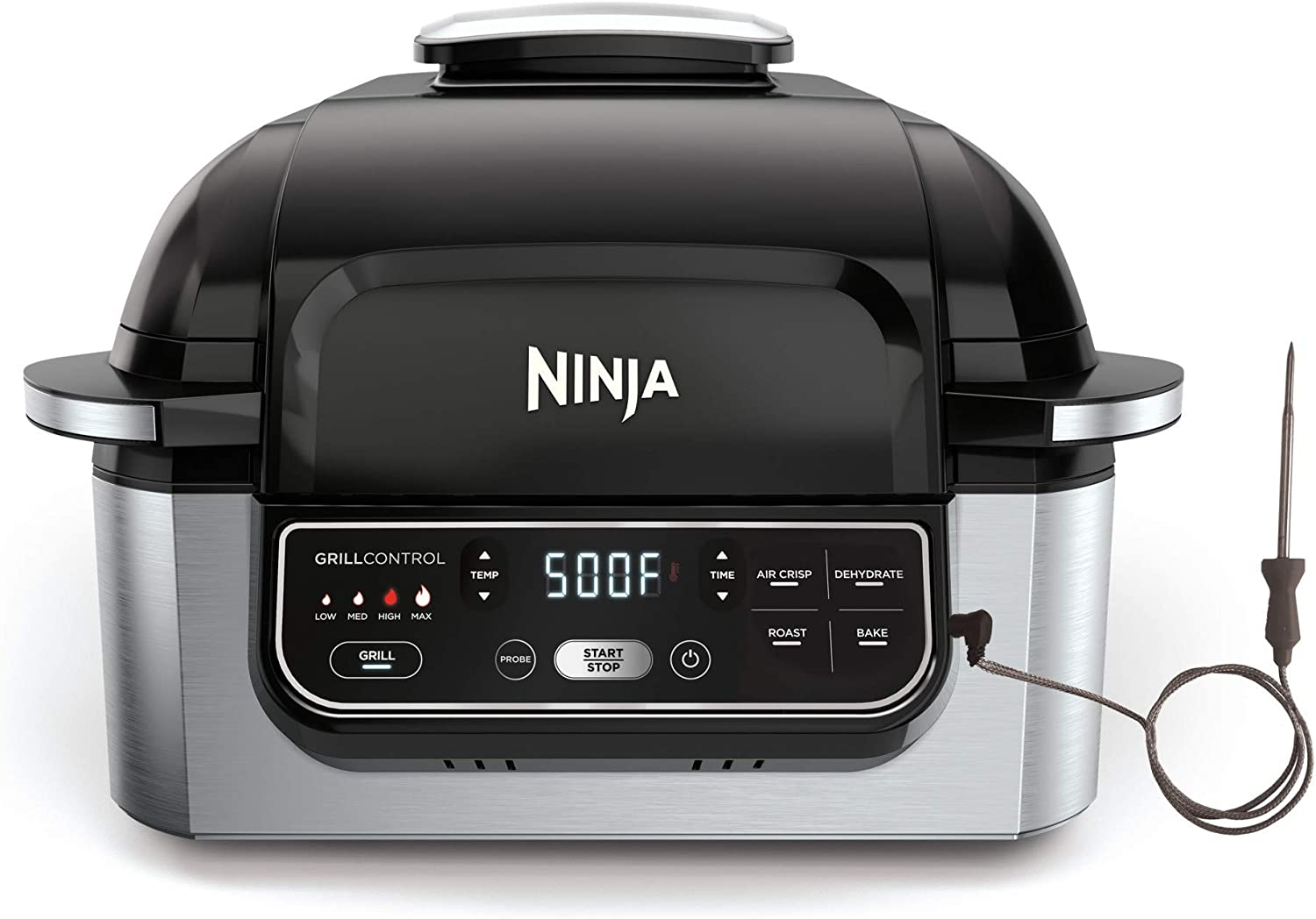 Ninja Foodi Pro 5-in-1 Integrated Smart Probe and Cyclonic Technology Indoor Grill, Air Fryer, Roast, Bake, Dehydrate (AG400), 10