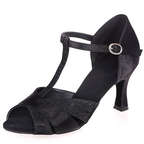 Elobaby Zapatillas De Baile para Mujer Salsa EstáNdar Peep Toes Glitter Jazz Latin /7.5cm TacóN/Vestido: Amazon.es: Zapatos y complementos