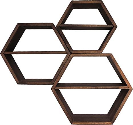 Proudly Made in the USA. 3 Hexagon Honeycomb with floating shelf unfinished sanded Made with select grade Pine