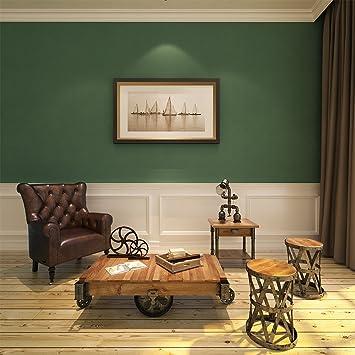 Hanmero Papier Peint Vintage Intissé Style De Campagne Vert Pour