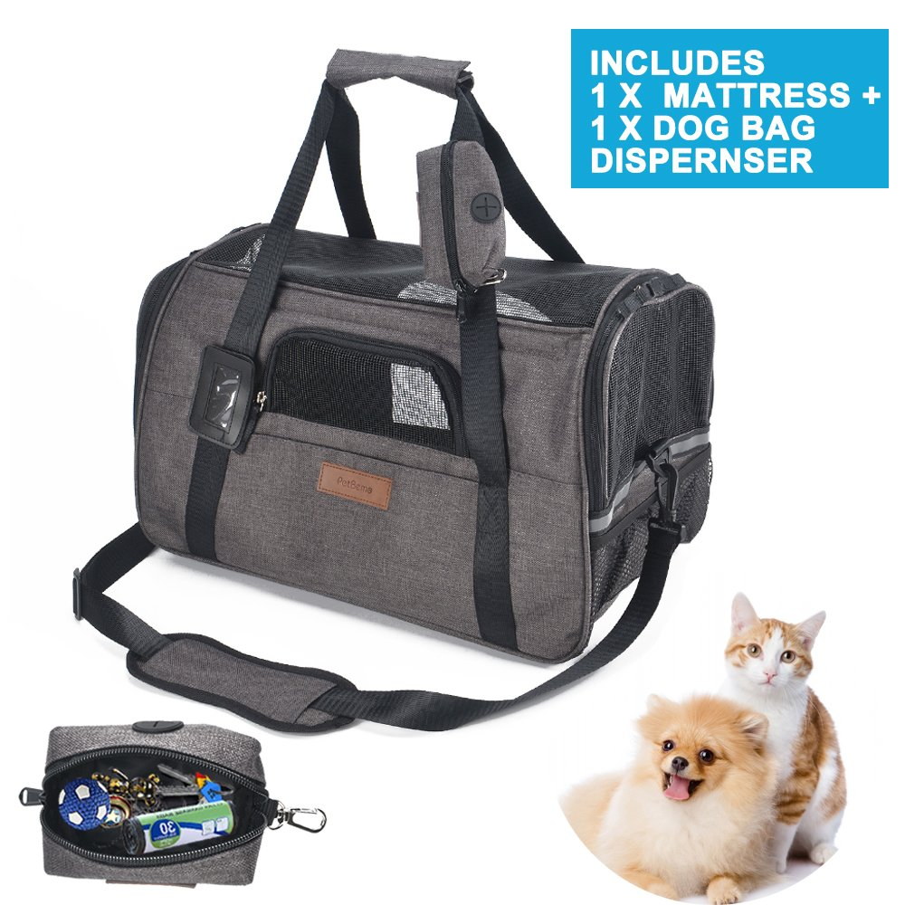Airline Approved Soft Sided Pet Travel Carrier with Mesh Windows and Cushion Free Bonus Poop Bag Dispenser for Small Dogs and Cats