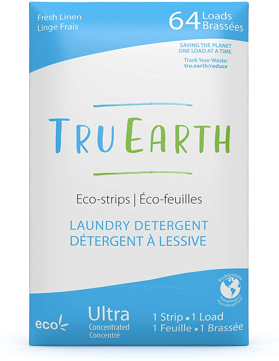 Tru Earth Eco-Strips Laundry Detergent (Fresh Linen Scent, 64 Loads) - Eco-Friendly Ultra Concentrated Compostable & Biodegradable Plastic-Free Laundry Detergent Sheets