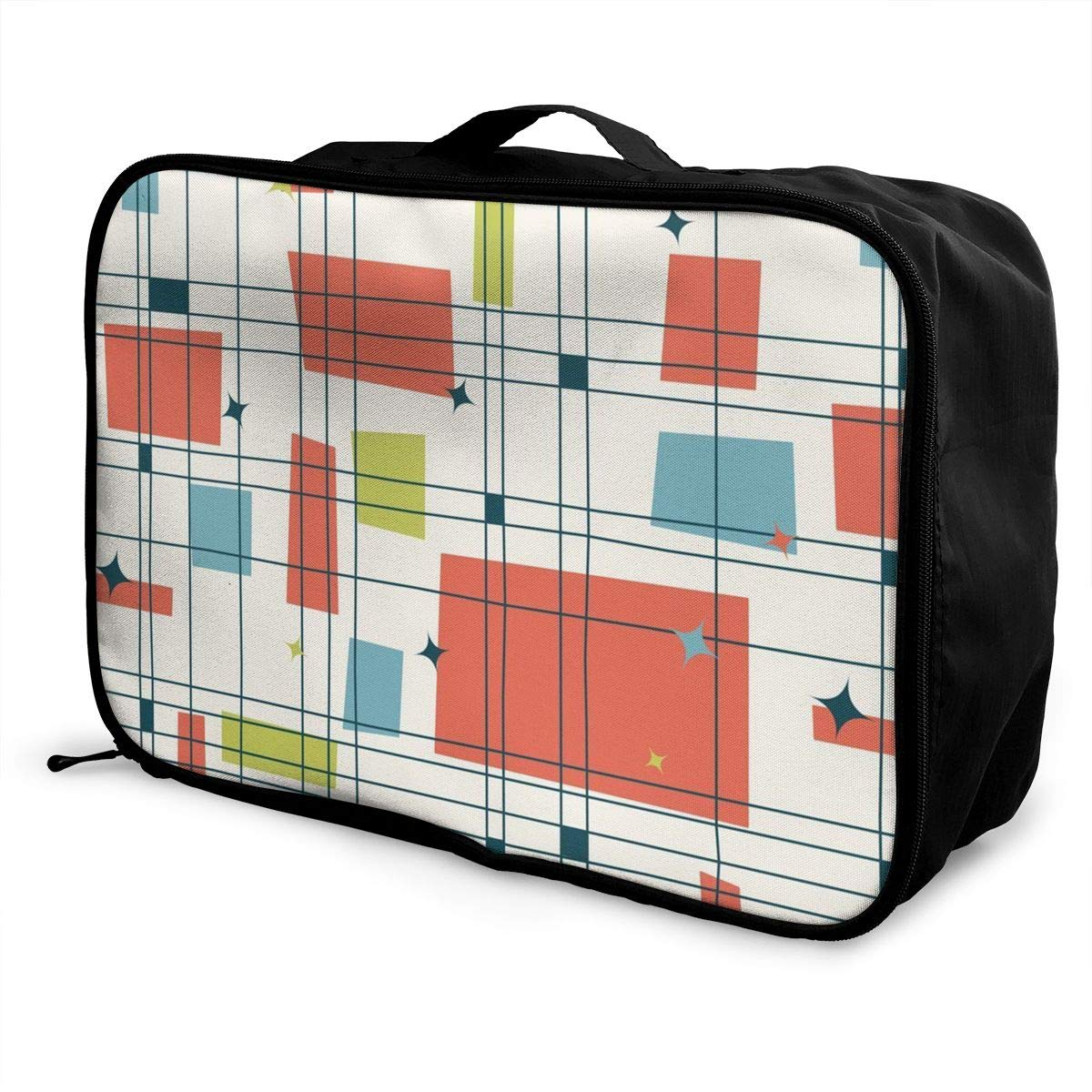 Lightweight Large Capacity Duffel Portable Luggage Bag Abstract Mid Century Modern Grid Travel Waterproof Foldable Storage Carry Tote Bag