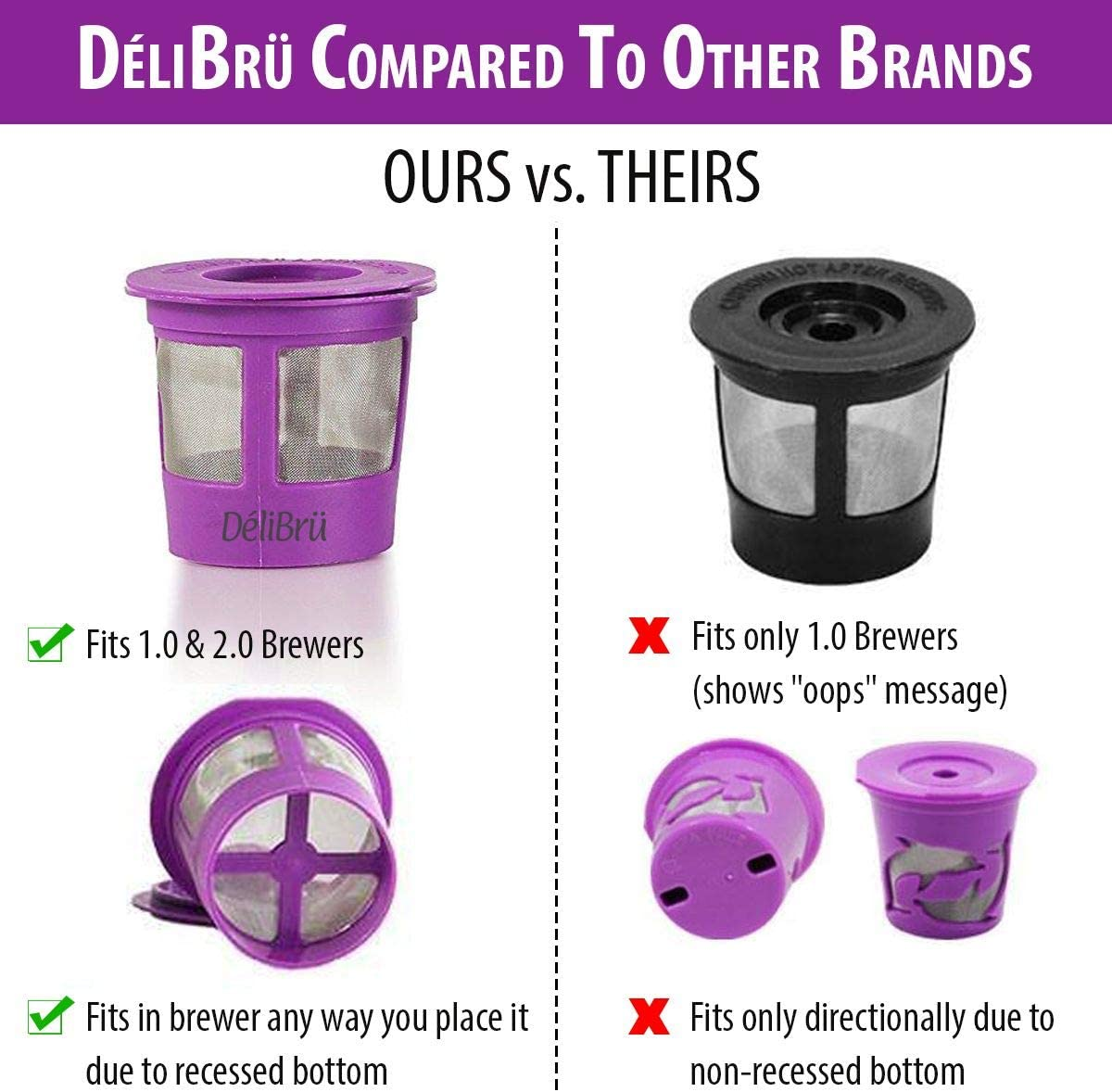 Reusable K Cups for Keurig 2.0 & 1.0 4PACK Coffee Makers. Universal Refillable KCups, Keurig filter, Reusable kcup, k cup k-cups reusable filter by Delibru 71PvAzwSC2L