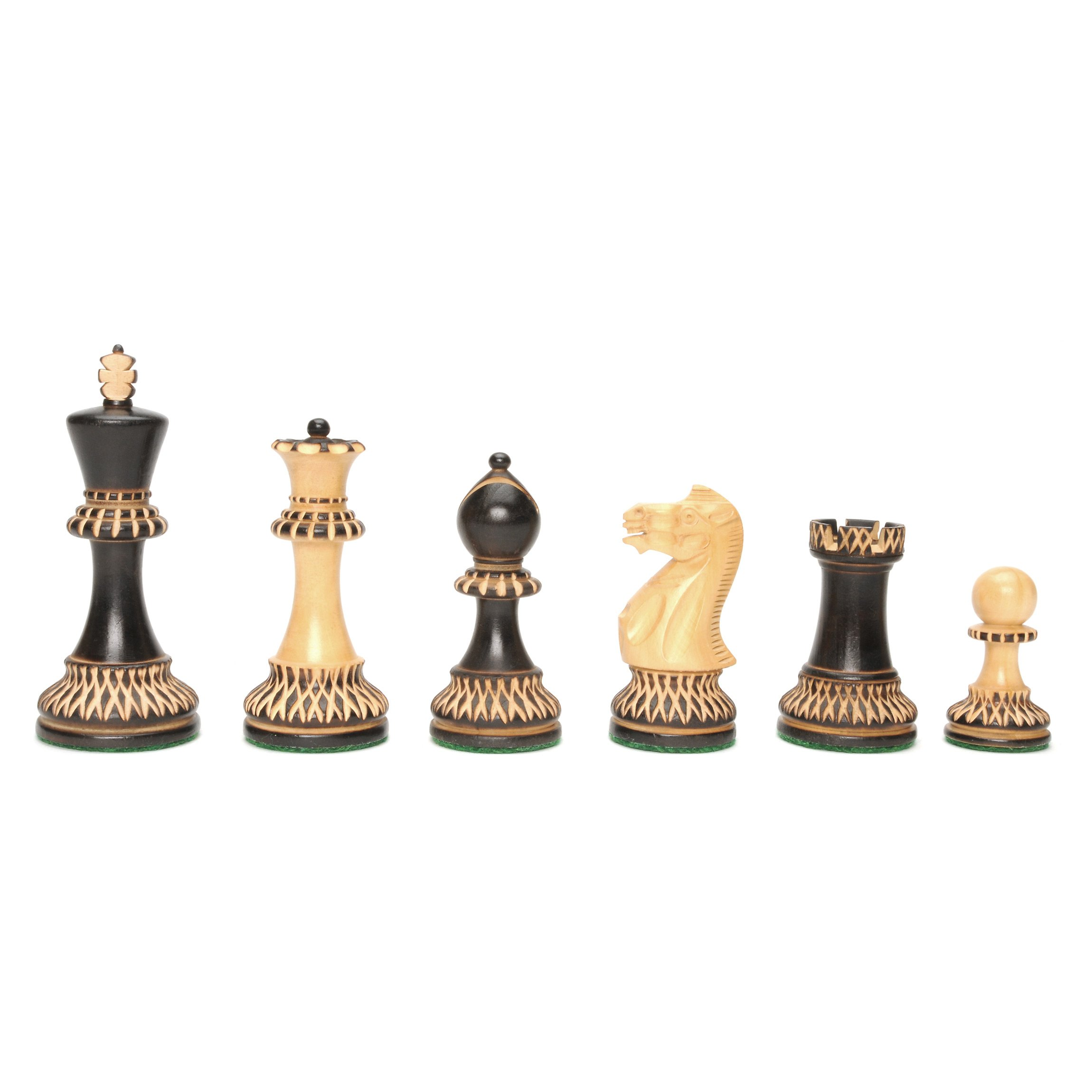 Staunton Chessmen with Ornate Pyrography Design - Weighted with 3.94 Inch King, 2 extra queens