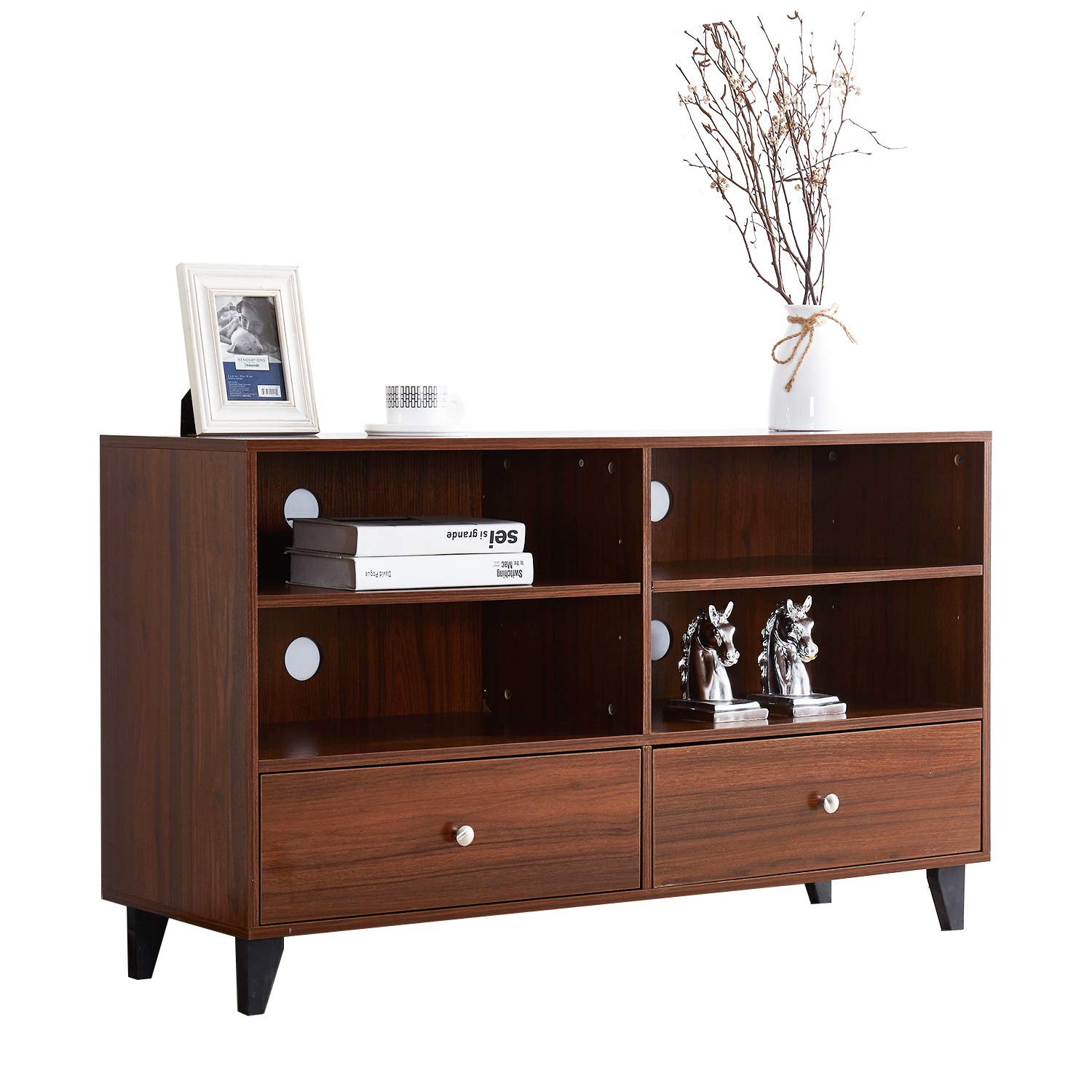 Soges Storage Cabinet Kitchen Sideboard Buffet Table Server Cabinet Cupboard with Drawers and Shelves Display Cabinet, Walnut HHGZ008-WN