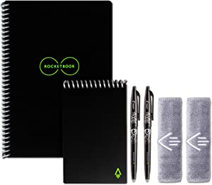 "Rocketbook Smart Reusable Notebooks with 2 Pilot Frixion Pens - Black, Executive (6"" x 8.8"") & Mini Size (3.5"" x 5.5"")"