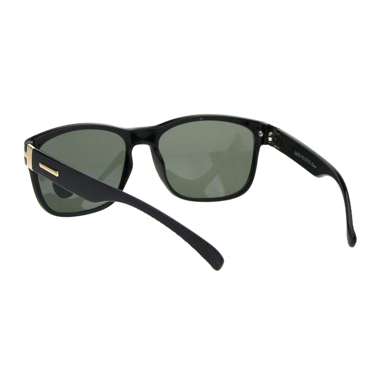 Tempered Glass Lens Mens Rectangular Plastic Rim Designer Sunglasses Black Green