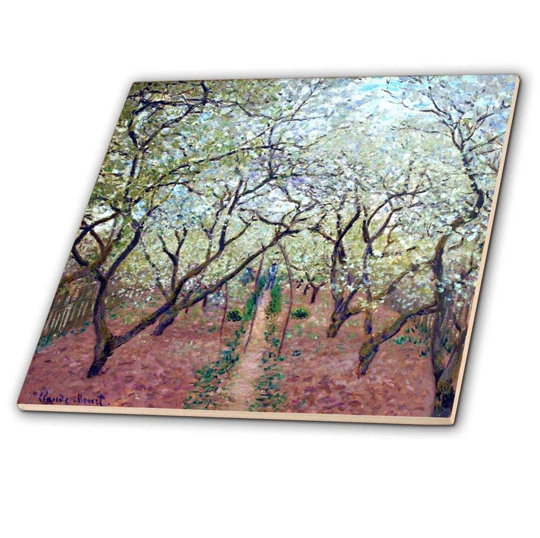 Multicolor 3dRose Print of Monet Painting Orchard in Bloom-Ceramic Tile 6-inch ct/_204109/_2