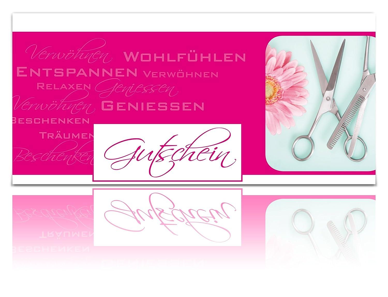 Hair-Design geklappt Din Lang GeschenkGutscheine Gutscheinkarten Pink Friseur-