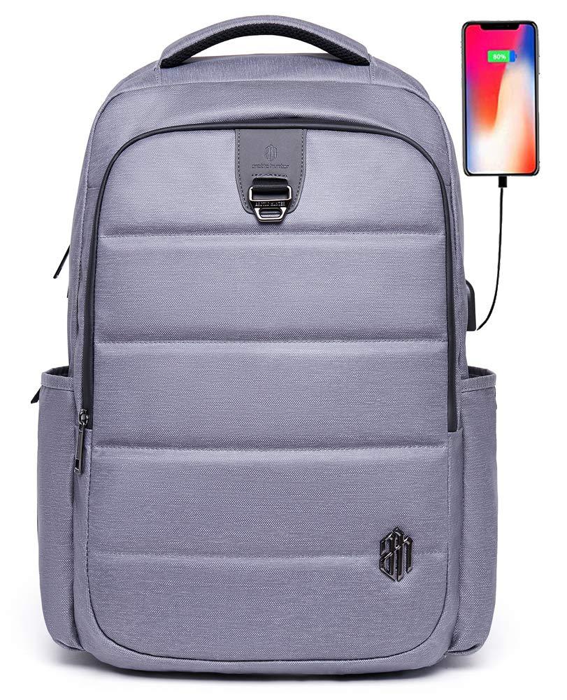 旅行ラップトップバックパック ビジネス盗難防止スリム耐久性ノートパソコンバックパック USB充電ポート 防水 大学のスクールコンピュータバッグ レディース&メンズ 15.6インチノートパソコンに対応 グレー FDS5  グレー B07K6H5GWY