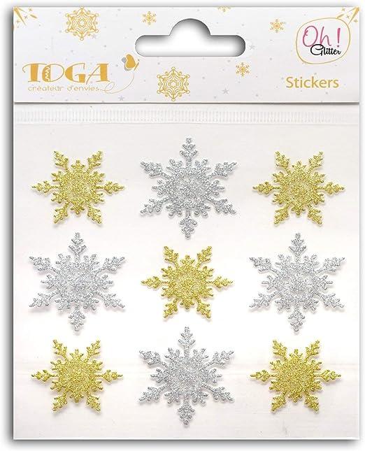 Oh! Glitter sto130 Pack de 9 Pegatinas, diseño de Copos para Scrapbooking Papel Purpurina Oro/Plata 10 x 10 x 0.1 cm: Amazon.es: Hogar