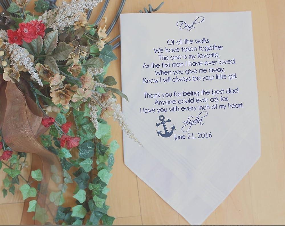 Father of the Bride Handkerchief-Wedding Handkerchief-PRINTED-CUSTOMIZED-Wedding-Father in Law-Wedding Gift-Father of the Bride Gift-MS2FCHA by Snugahug