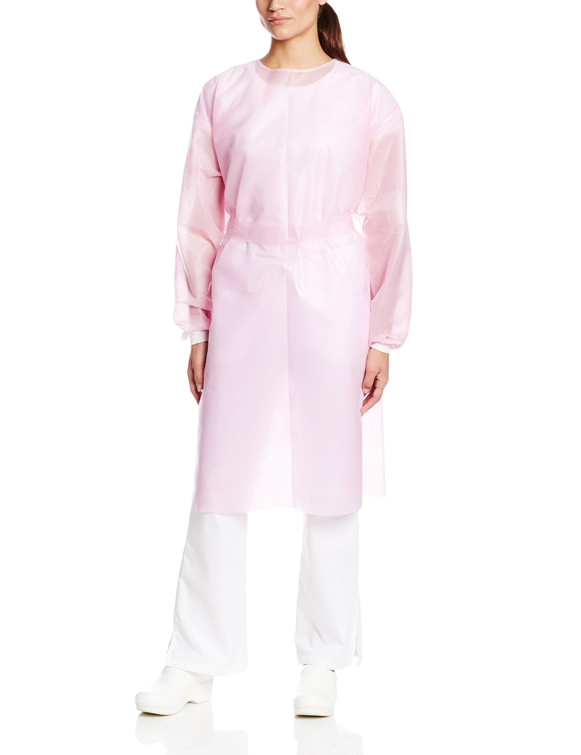 ValuMax 3360P Disposable SPP Cover Gown, Heavier Fabrics, Fluid Resistant, Tie Back, Knit Cuffs, Pink, Regular Size, Pack of 10