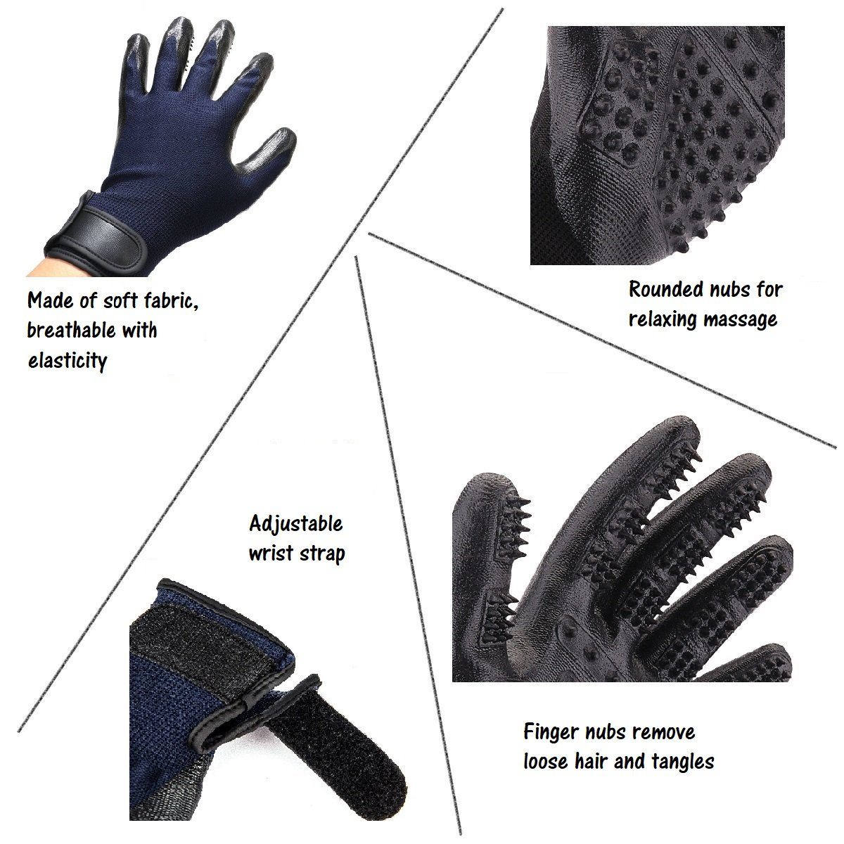 Pet Grooming Glove; Brush Hair Remover Gloves; Deshedding and Massage Gentle Mitt for Long Short Fur Dogs, Cats, Horses, Rabbits by HOHT (Image #5)