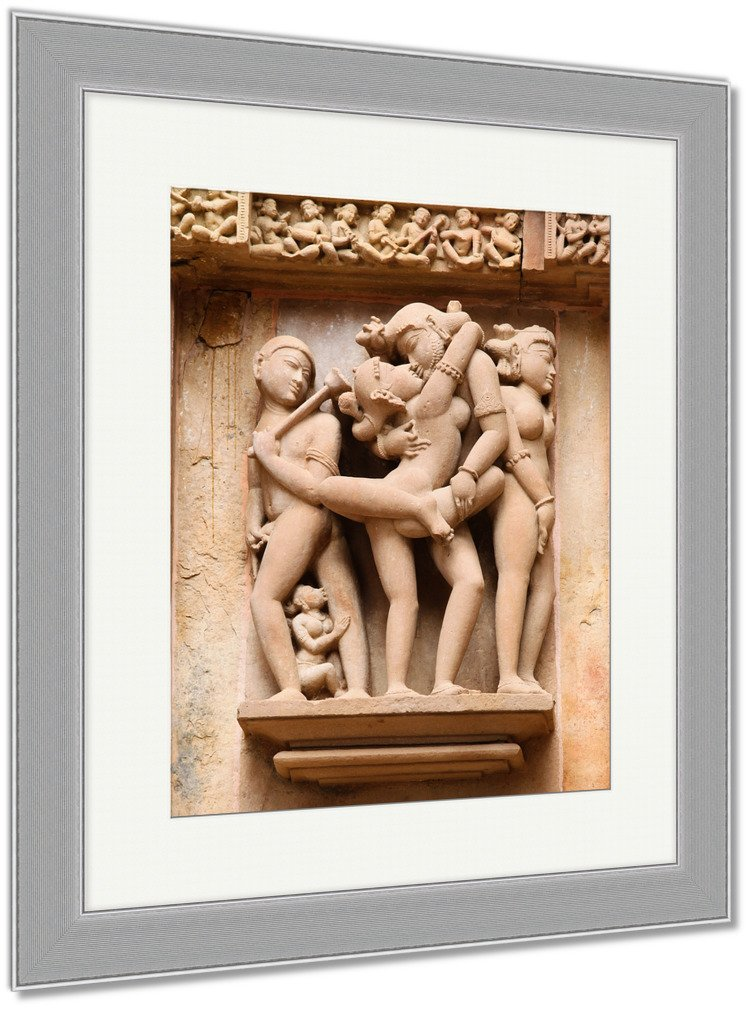 Ashley Framed Prints Temples At Khajuraho India, Wall Art Home Decoration, Color, 40x34 (frame size), Silver Frame, AG5950555