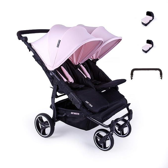 Baby Monsters-Silla Gemelar Easy Twin 3.0.S + 2 Capazos duros + Barra Protectora de Regalo (Purple) + Bolso Neceser de Regalo- Danielstore: Amazon.es: Bebé