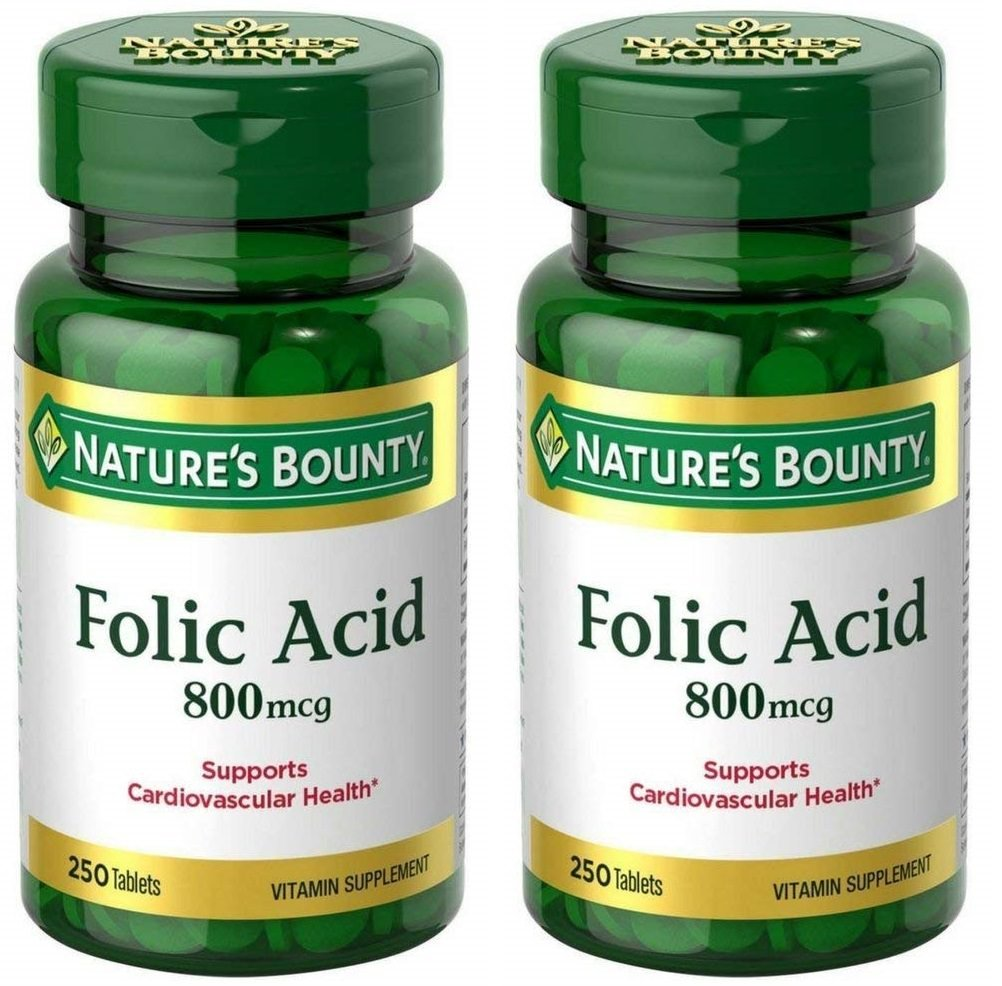 Folic Acid 800 mcg Tablets Maximum Strength, 2 Bottles (250 Count)