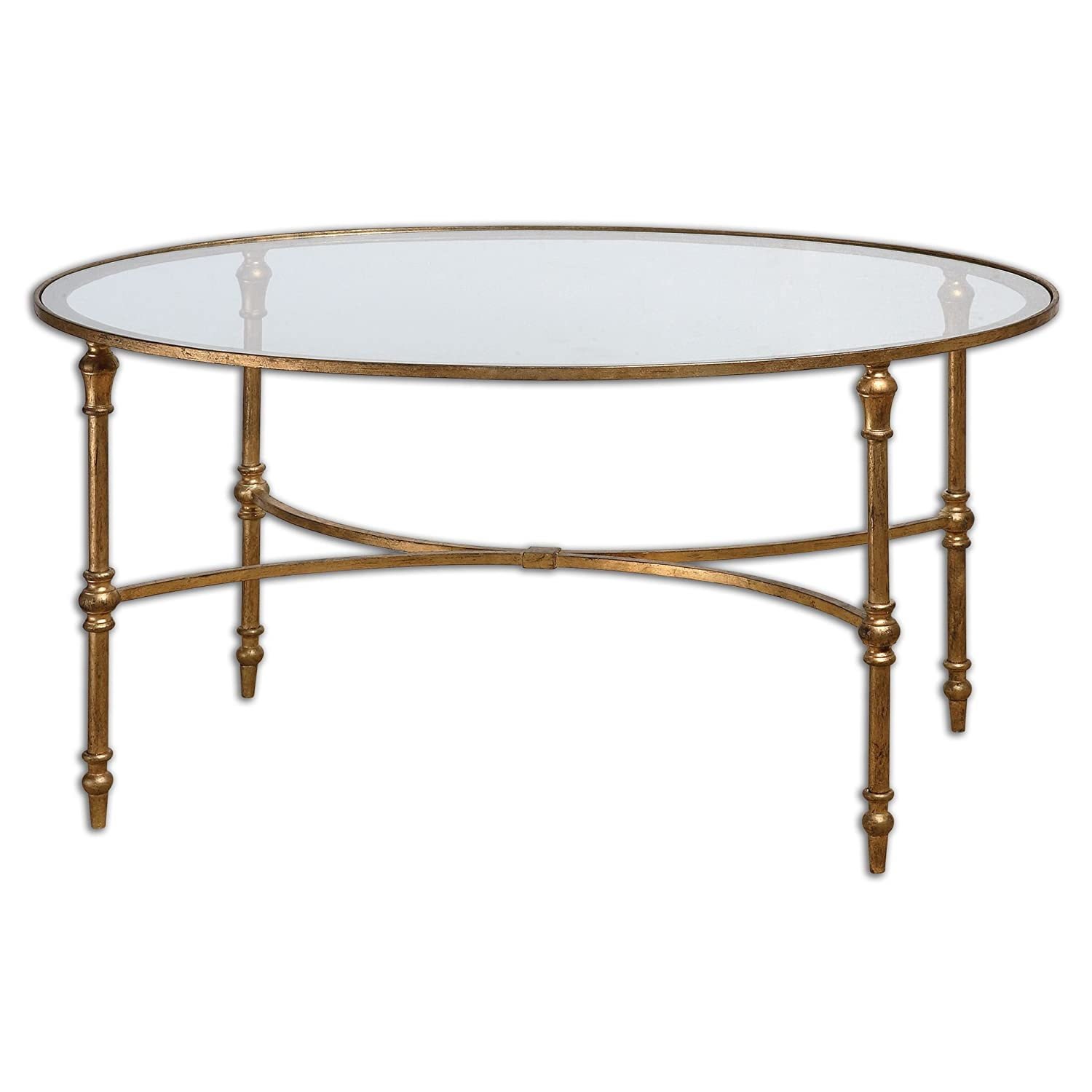 Iron Coffee Tables Amazoncom Elegant Oval Gold Iron Coffee Table Kitchen Dining