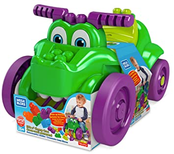 Mega Bloks Cocodrilo monta y zampa, juguete bloques de construcción para niños +1 año (Mattel GFG22)