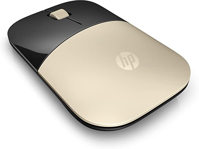 HP 2.4GHz Wireless USB Mouse Z3700 (Matte Gold/Glossy Black), Modern Gold (X7Q43AA#ABL)