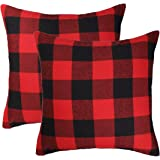 4TH Emotion Christmas Red and Black Buffalo Check Plaid Throw Pillow Case Cushion Cover Holiday Decor Cotton Canvas for Sofa 18 x 18 Inch Set of 2