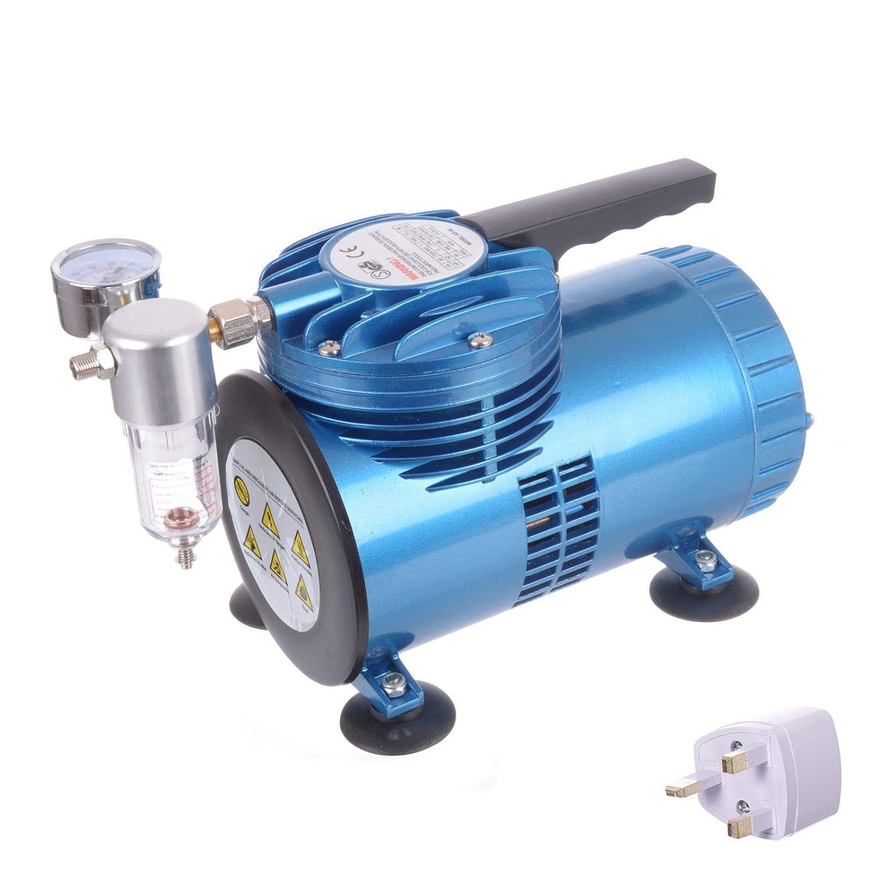 Compresor de aire portátil sin aceite de membrana de diafragma para aerógrafo con pistola mini: Amazon.es: Bricolaje y herramientas