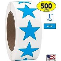"1"" Bright Blue Star Shape Sticker Labels, 500 Labels per Roll, 1 Roll, 1 Inch Diameter"