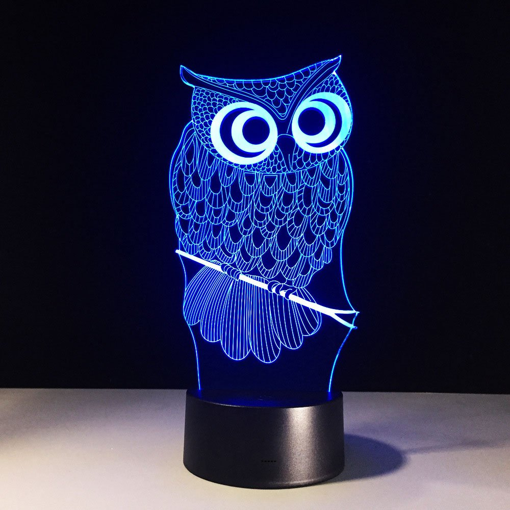 Owl 3D LED Lamp Cute Kawaii Cartoon 3D LED Animal Night Light RGB Changeable Lamp Child Kids Baby Soft Lights Bedroom Decoration