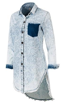 a8c02e5499f ililily Women Vintage Ice Wash Denim Shirt Distressed Frayed Hemline Long  Dress